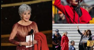 Jane Fonda is a LEGEND! She brought her iconic red #firedrillfriday coat on to H...