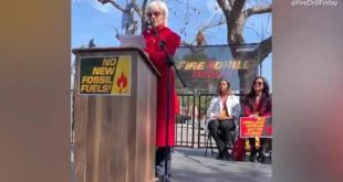 Jane Fonda speaks at Fire Drill Friday climate change rally in LA