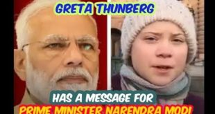 Greta Thunberg - Message to Indian Prime Minister Mr.Modi