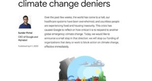 Some good news!  is announcing that they will stop funding climate change denier...