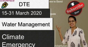 Water Management; Climate Emergency - Down to Earth DTE 15-31 March 2020