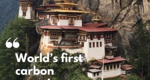 Between India and China, the largest producers of carbon dioxide, exists Bhutan,...