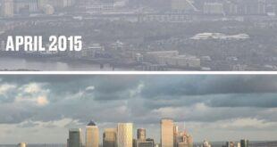 Two images of London's skyline illustrates how much air pollution has decreased ...