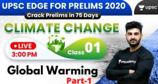 UPSC EDGE for Prelims 2020 | Environment & Climate Change by Sumit Sir | Global Warming (Part-1)