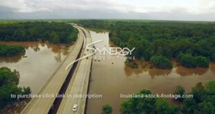 297 aerial drone dolly over River in Baton Rouge Louisiana video stock footage